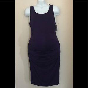 Isabel Maternity Shirred Tank Dress Eggplant